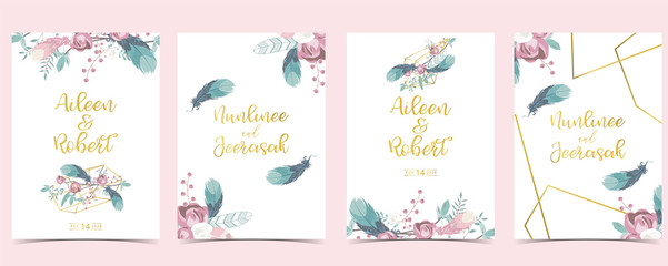 Wall Mural - Pink green geometry wedding invitation with cactus and leaves.Vector birthday invitation for kid and baby.Editable element