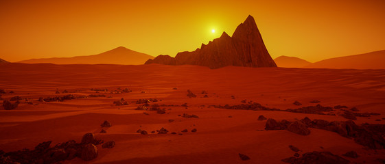 Fotobehang Rood paars a great day on Mars (3d rendering)