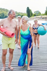 Sporting group seniors on vacation
