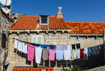 Laundry hanging in the medieval town of Dubrovnik, Croatia