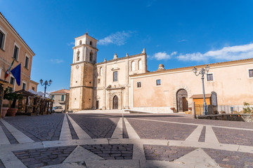 Main square with medieval cathedral in Santa Severina, Italy