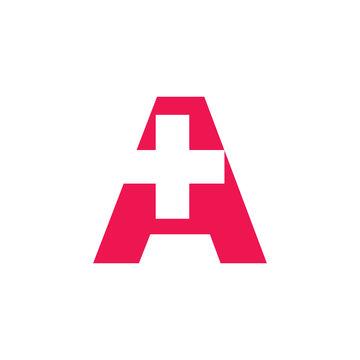 letter a plus logo vector