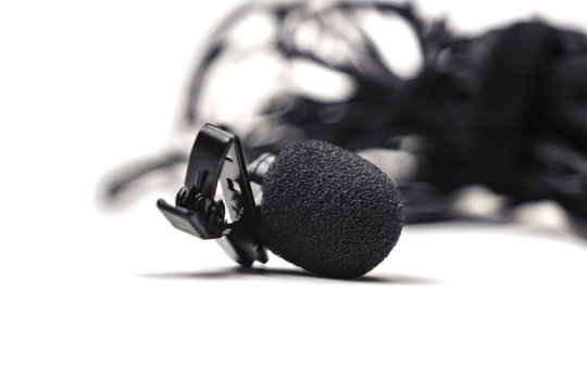 lapel microphone black isolated on white background.
