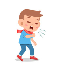 cartoon little kid boy coughing vector
