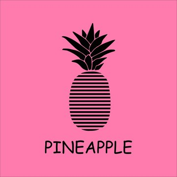 Pineapple logo design in isolated pink background