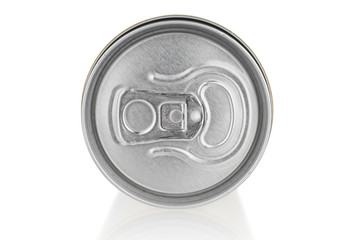 Aluminium can close up on white background