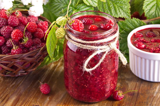 Homemade raspberry jam from fresh forest berries useful vitamin delicacy