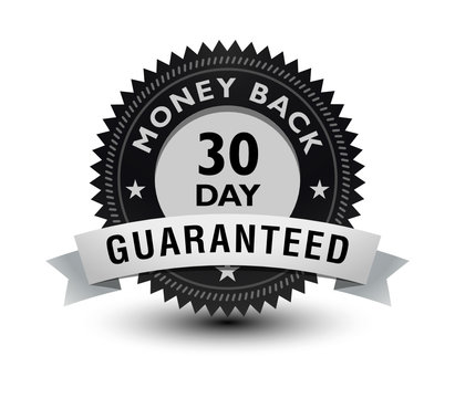 Silver color 30 day money back guaranteed banner, sticker, tag, icon, stamp, label, sign, badge with ribbon on top isolated on white background.