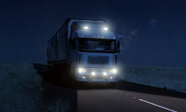 Long Haul overnight Trucking Logistics on a dark country highway road