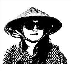Vector illustration of realistic young woman portrait. Girl's face with sunglasses and long hair. Black and white graphic drawing. Happy female tourist wearing Vietnamese conical hat.