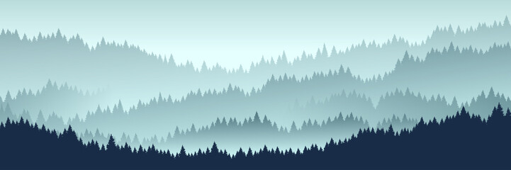 Poster Lichtblauw forest landscape. Vector illustration. Layered trees background. Outdoor and hiking concept