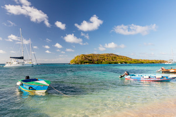 Saint Vincent and the Grenadines, motor boats, Tobago Cays