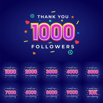 Thank you followers congratulation card. Vector illustration for Social Networks. Web user or blogger celebrates a large number of subscribers. - Vector