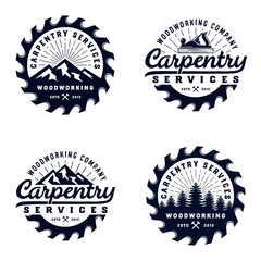 Vintage badge wood carpentry logo template with mountain and tree element and sawmill blue color isolated on white background - vector