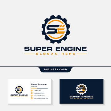 Initial se engineering logo design template vector
