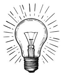 Vintage light bulb in sketch style.