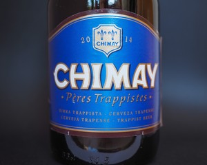 BRUSSELS, BELGIUM - JANUARY 6, 2015: Chimay Blue beer