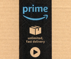 SEATTLE, USA - CIRCA DECEMBER 2017: Amazon prime label on parcel
