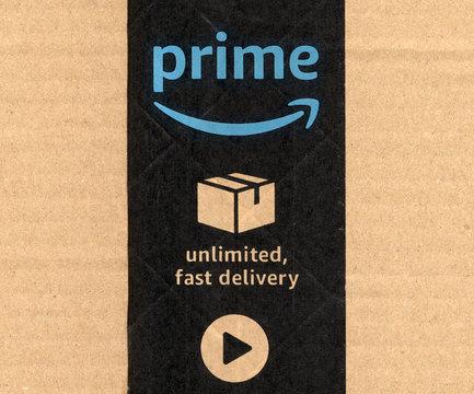 SEATTLE, USA - CIRCA DECEMBER 2017: Amazon prime label on parcel