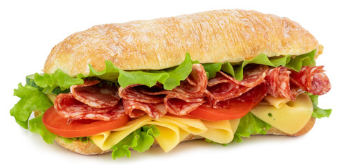 Printed roller blinds Snack Ciabatta sandwich with lettuce, tomatoes prosciutto and cheese isolated on white background