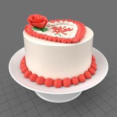 Decorative heart shaped cake