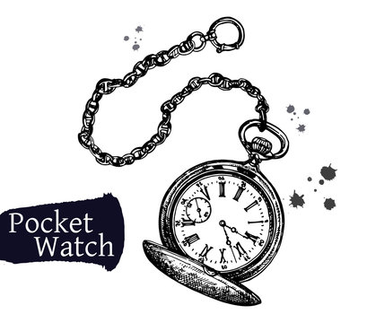 Hand drawn sketch style pocket watch isolated on white background. Vector illustration.