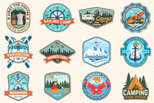 Set of sailing camp, canoe, snowboarding, climbing and kayak club patches. Vector. Concept for shirt, print, stamp or tee. Outdoor adventure patches.