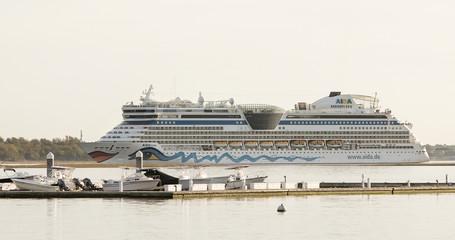 German cruise liner Aida Luna coming into port in Charleston, South Carolina.
