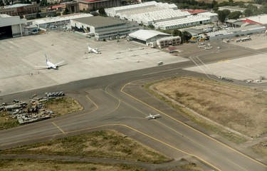 ADDIS ABABA, ETHIOPIA-MARCH 25, 2017: An aerial view of Addis Ababa Bole International Airport and the tarmac with airplanes.