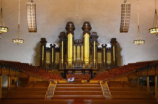 SALT LAKE CITY, UTAH - JUNE 28, 2017: Tabernacle interior. The pipe organ where the Mormon Tabernacle Choir practices and performs.