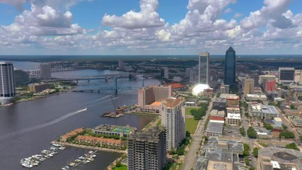 Wall Mural - Aerial panning footage of Downtown Jacksonville and St Johns River