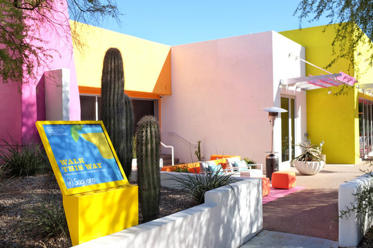 SCOTTSDALE, ARIZONA - DECEMBER 9, 2016: Saguaro Restaurant is part of the Saguaro Hotel and Spa in the heart of Old Town Scottsdale, Arizona.