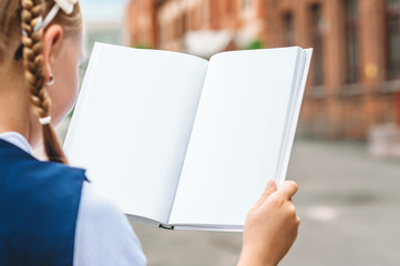 Mock up books in the hands of a schoolgirl, against the background of the old school. Back to school concept.