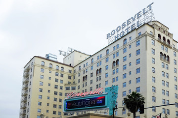 HOLLYWOOD - CALIFORNIA: JUNE 18, 2019: The Hollywood Roosevelt Hotel on Hollywood Boulevard opened in May 1927, and is the oldest continually operating hotel in Los Angeles.