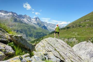 Wall Mural - Wanderer blickt in die Alpen