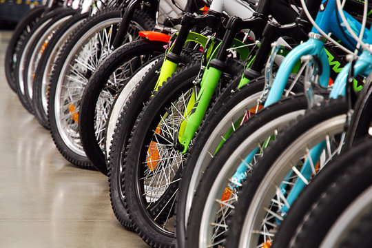 bicycles in sports store or bike rental reopened for customers