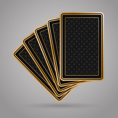 Five poker playing cards in black and gold design