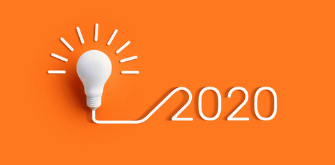 2020 creativity inspiration concepts with lightbulb on color background.Business solution.