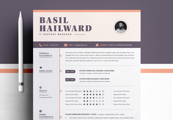 Professional Resume Layout Set with Orange Accents