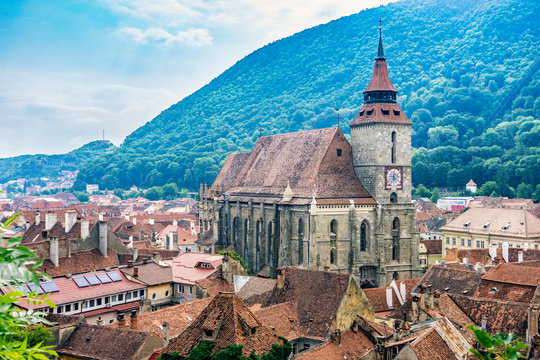 View on Old Town and Cathedral in Brashov, Transylvania, Romania