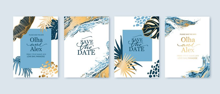Set of elegant brochure, card, background, cover. Blue and golden marble texture. Geometric frame. Palm, exotic leaves. Save the date, invitation, birthday card design.