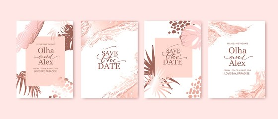 Set of elegant brochure, card, background, cover. Blush and rose gold marble texture. Geometric frame. Palm, exotic leaves. Save the date, invitation, birthday card design.
