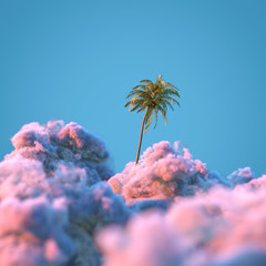 palm tree among the clouds