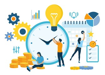 Time management planning, organization and control concept for effiecient succesful and profitable business. Concept of work time management. Business team. Vector illustration with characters. Wall mural