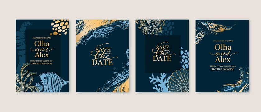Set of wedding cards, invitation. Save the date sea style design. Romantic beach wedding summer background. Hand drawn seashells with golden texture.