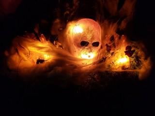 Flaming Halloween Skull