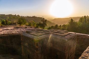 Sunset at monolithic church of Saint George (Bet Giyorgis) Wall mural