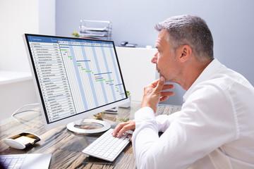 Fototapete - Businessman Looking At Gantt Chart On Computer