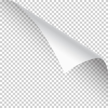 Curled page corner with shadow on transparent background. Blank sheet of paper. Vector illustration.