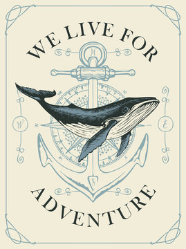 Vector banner with hand-drawn whale on the background of compass and anchor in retro style. Illustration on the theme of travel, adventure and discovery with words We live for adventure